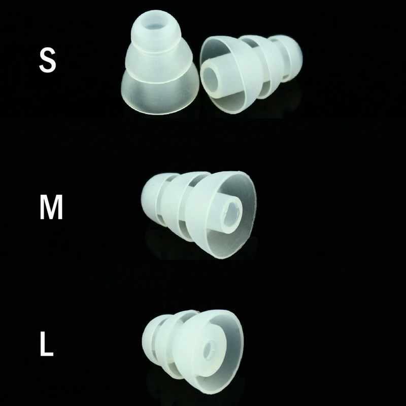 TENNMAK potrójne kołnierz ucha końcówki, 6 par S/M/L rozmiar potrójne trzy kołnierz hałas izolowanie silikonowa poduszka na uszy (12 sztuk)