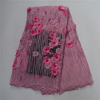 Best Quality African Lace Fabric Pink Color 3D Flower Lace Embroidery French Mesh 2018 Nigeria 3D Lace Fabric Material 30