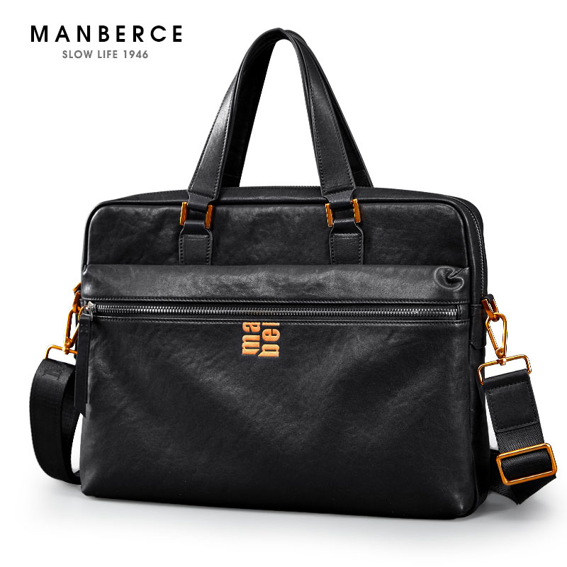MANBERCE Brand Men's Briefcases Men Shoulder Bags Brand Genuine Leather Handbag Cowhide Messenger Bag Travel Tote Laptop Bags lacus jerry genuine cowhide leather men bag crossbody bags men s travel shoulder messenger bag tote laptop briefcases handbags