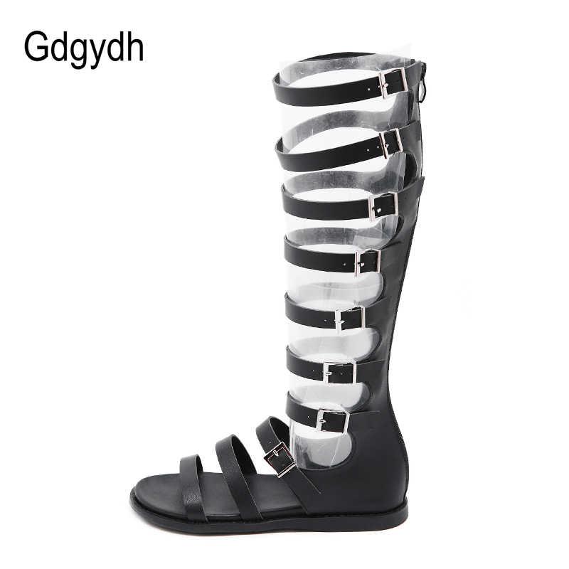 Gdgydh Yaz Çizmeler Kadın Gladyatör Ayakkabı Kadın Roma Stil Peep Toe Kadınlar Diz Boots Düz Topuk Fermuar Siyah gotik 2019