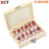 12pcs Milling Cutter Router Bit Set 8mm Wood Cutter Carbide Shank Mill Woodworking Engraving Cutting Tools