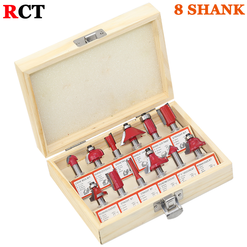 12pcs Milling Cutter Router Bit Set 8mm Wood Cutter Carbide Shank Mill Woodworking Engraving Cutting Tools high quality wood milling cutter biscuit jointing router bit carbide tipped 1 2 shank woodworking router bits carbide end mill