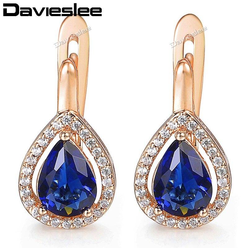 c48b75060 Davieslee Womens Lady Stud Earrings Teardrop Blue CZ 585 Rose Gold Filled  Snap Closure LGE87 image