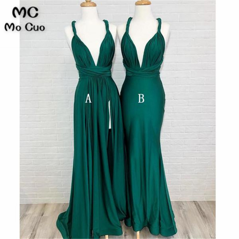 2019 In Stock Wedding Party Dress Bridesmaid Dresses Long With AB Shiny Satin Spaghetti Straps Formal Women Bridesmaid Dress
