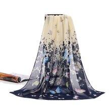 Новинка весна осень 2018 шифоновый шарф длинный с принтом солнцезащитные