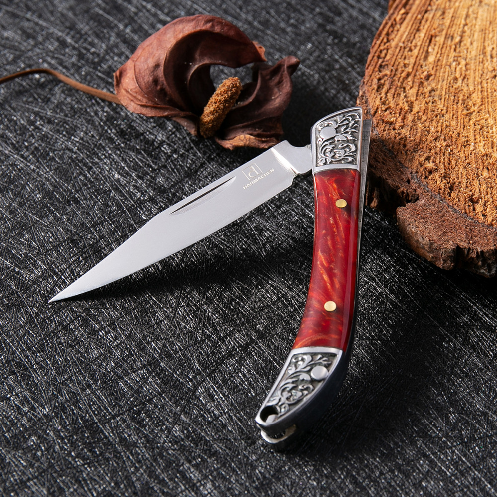 Daomachen l escultura dobrável bolso facas 5cr13 lâmina preta faca de caça acampamento ao ar livre faca edc multi ferramenta super afiada
