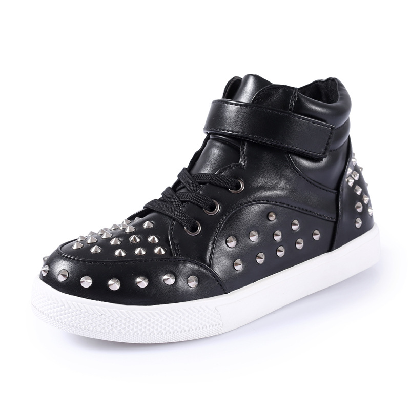 New Fashion Children Rivet for Boys Shoes Kids Girls Classical Simple Casual Sneakers PU Leather School Leisure tenis infantil
