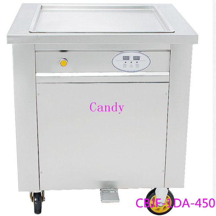 R410A Refrigerant thailand fried ice cream roll machine frying ice machine ce fried ice cream machine stainless steel fried ice machine single round pan ice pan machine thai ice cream roll machine