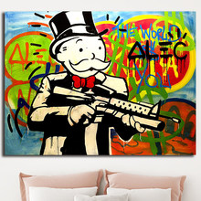 Money Bag Multi Color Poster Alec Monopolyingly Graffiti Paintings on Canvas Modern Art Decorative Wall Pictures Home Decoration(China)