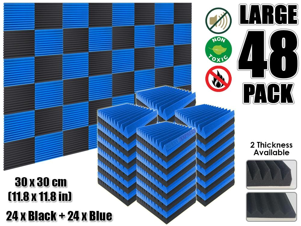 Arrowzoom 48 pcs Blue and Black Multi-Wedge 12T Acoustic Studio Foam Tile Sound Absorption Panel 30 x 30 cm (11.8 x 11.8 inches) винтовочный оптический прицел walther airsoft 1 x 30 30 48