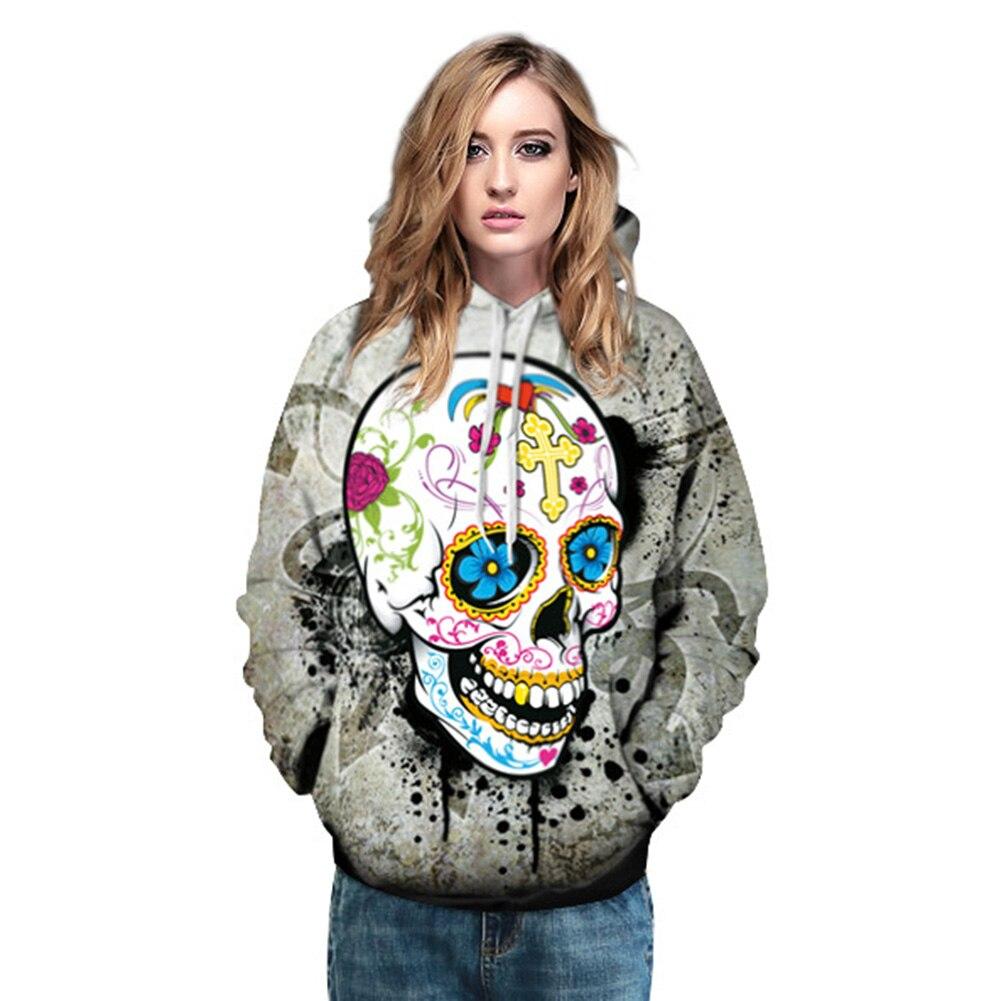 Women Man Couple Hoodies Sweatshirts Autumn Winter Colorful 3D Skull Print Hoodies Unisex Hoody Pullovers Outwear Coats