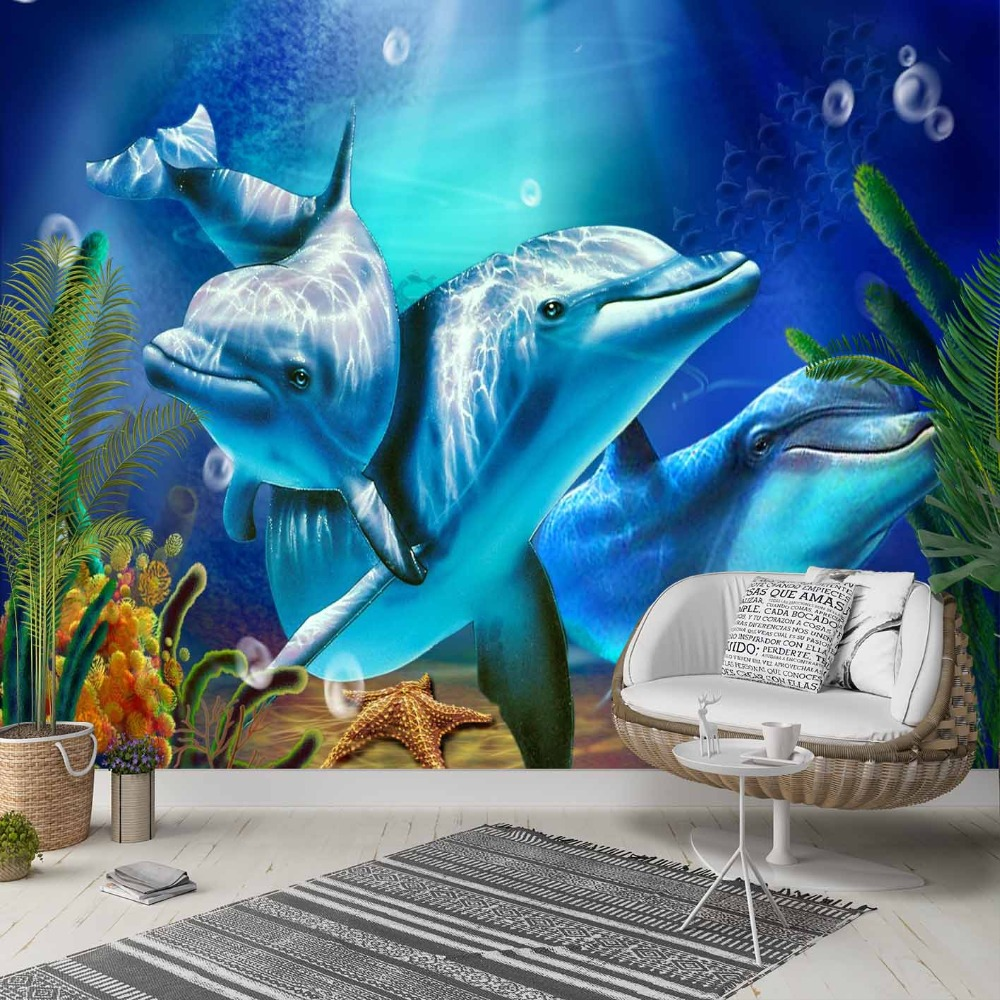 Else Blue Under Sea Swimming Dolphins Fishes 3d Photo Cleanable Fabric Mural Home Decor Living Room Bedroom Background Wallpaper