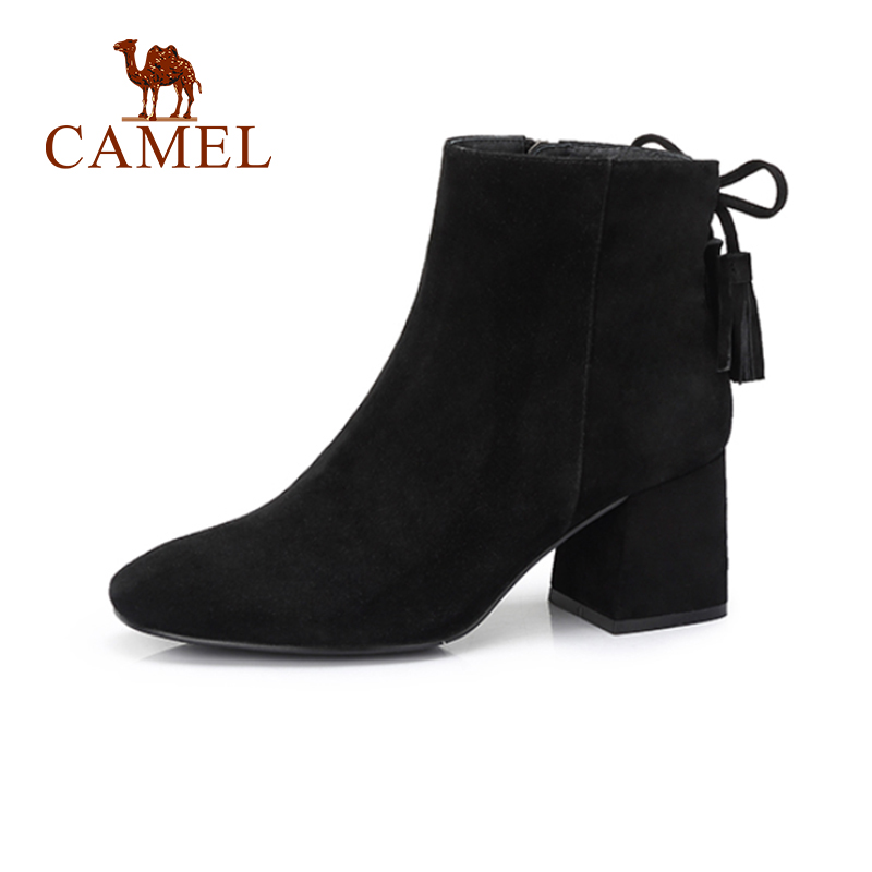 CAMEL High Heel Short Boots Shoes Women 2018 Black Color Fashion Thick Heel Casual Shoes Plus Velvet Keep Warm For Girls camel camel boots cowhide thick heel rivet velvet fashion pointed toe boots vintage casual thermal boots