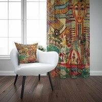 Mais laranja marrom azul étnico egito persa tribo 3d impressão sala de estar quarto 1 painel conjunto cortina combinar presente travesseiro caso