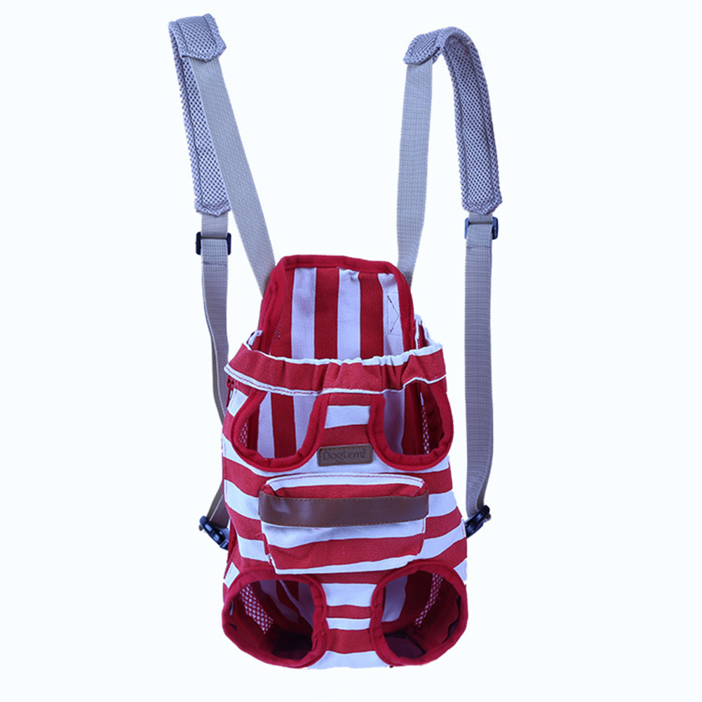 TINGHAO Stripe Pet Cat Dog Front Backpack Outdoor Travel Legs Out Carrier Holder Bag