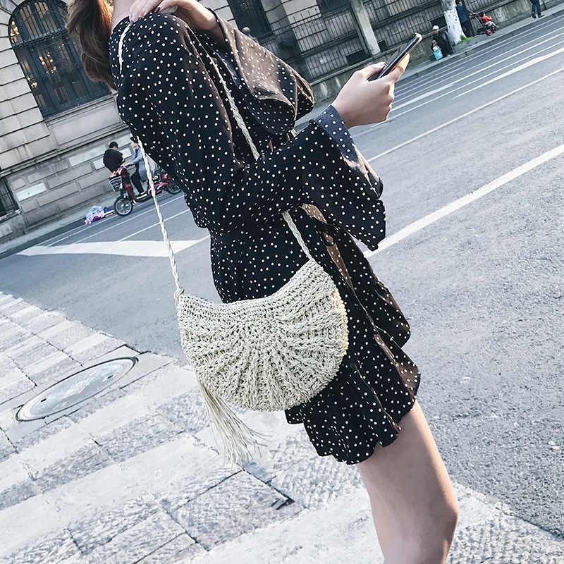 Женская Соломенная Сумка через плечо с кисточками, женские вязаные лунные мешки Issy, новинка 2018, мини-вязаные сумки, летняя пляжная сумка Boho