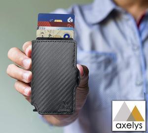 AXELYS кредитный держатель для Карт RFID | банкноты | всплывающая Кнопка | Тонкий волшебный кошелек | (черный карбон)