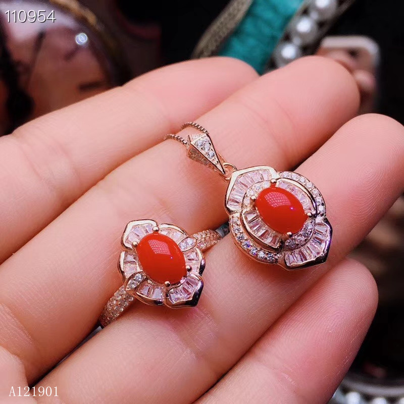 KJJEAXCMY boutique jewelry 925 sterling silver inlaid natural red coral lady's Ring Necklace Pendant with two sets of support d