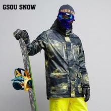 2018 GSOU снег Для мужчин лыжная куртка сноуборд Костюмы ветрозащитный Водонепроницаемый уличная спортивная одежда мужской Лыжный Спорт пальто супер теплое зимнее пальто