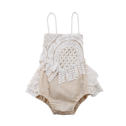 0-24M Newborn Infant Kid Baby Girl Cotton Halter Backless Sleeveless Lace Floral   Romper   One-piece Jumpsuit Child Outfits Clothes