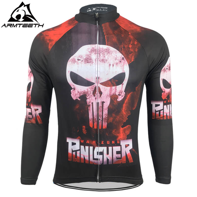 Hot Sale Punisher Long Sleeve Cycling Jersey Summer Mtb Short Anti-sweat  Bicycle Clothing Quick Dry Polyester Size XS-4XL d055440f3