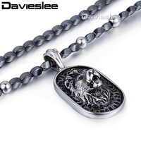 5mm 68 4cm Mens Boys Chain Iron Gallstone Link 316L Stainless Steel Lion Pendant Necklace Wholesale