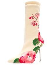 New Design Women Boots Strange Heels Shoes Printed Flower Stretch Back Zipper Ankle