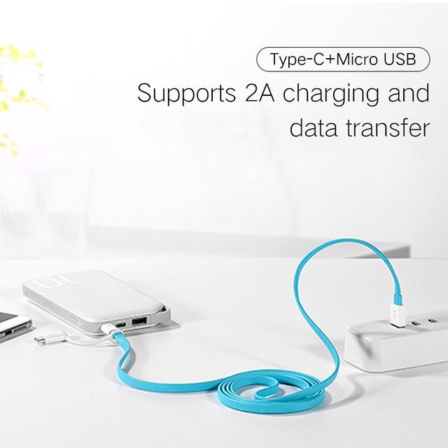 2 in 1 Micro USB Typc C Cable Huawei P20 Pro Fast Charger 2A