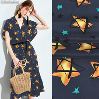 SCD098 100% Natural Silk Crepe De Chine/ Gold Stars /Silk Fabric Mulberry Silk / Width 1.48yd Thickness 14mm