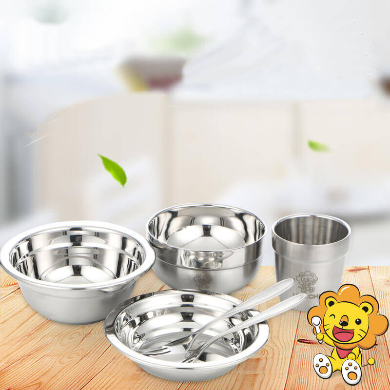 6 Pieces Kids Dinnerware Baby Feeding Children Bowl Food Grade 304 Stainless Steel Plate Dish Baby Set