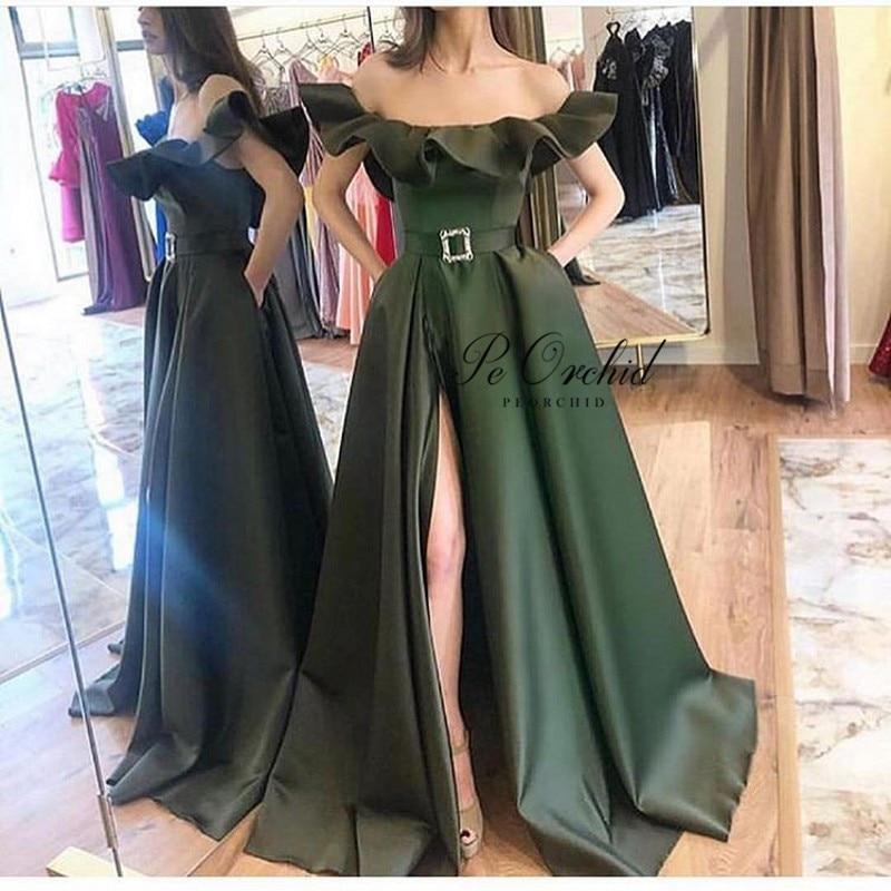 PEORCHI Satin Olive Green   Prom     Dresses   Split Sexy off Shoulder A Line vVestido Graduacion lLargo 2019 New Party Evening Gowns