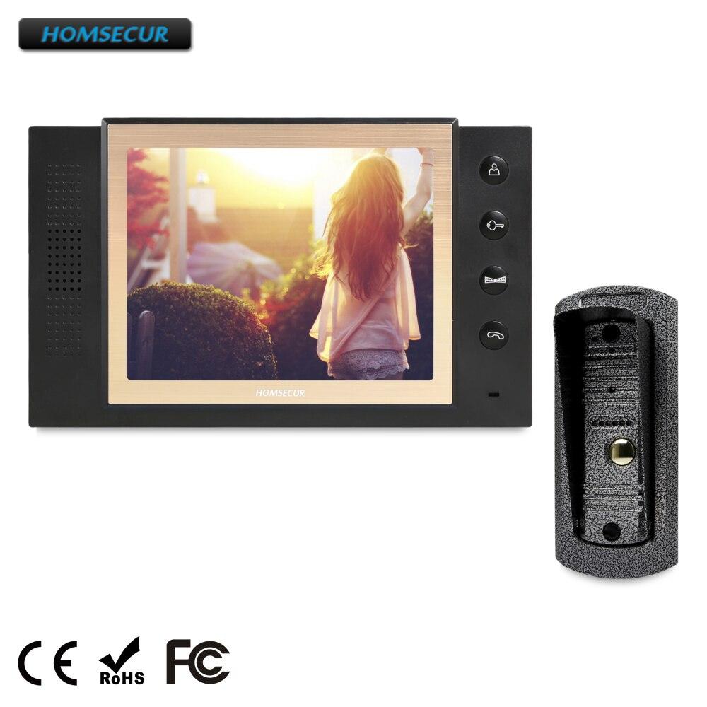 HOMSECUR 8 Filaire Vidéo & Audio Maison Interphone + Boîtier Métallique Caméra 1C1M pour Appartement RU Entrepôt