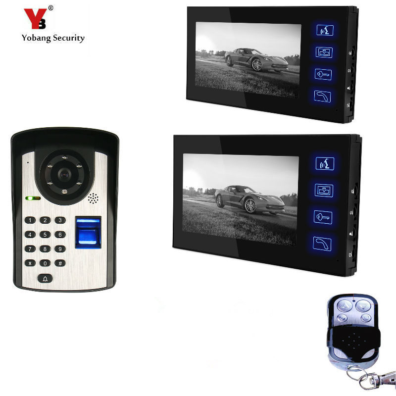 2*7inch Fingerprint/Password Code Unlock Door Camera Video Door Phone Video Doorbell Apartment Intercom System for 2 apartment video intercom fingerprint recognition password 700tvl sony camera unlock intercom video phone ip65 waterproof