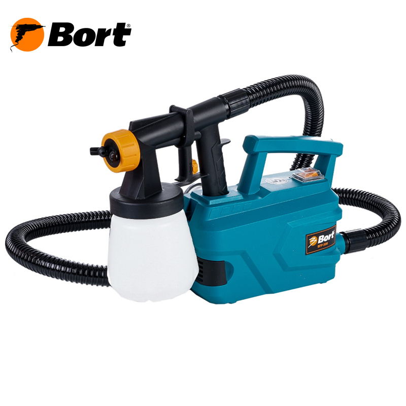 Bort Spray Gun High Power Home Electric Paint Sprayer Nozzle Easy Spraying Professional Air Spray Gravity Feed Airbrush Kit HVLP BFP-500 professional newest dual digital lcd power supply tattoo power supply for tattoo machine gun kit high quality free shipping