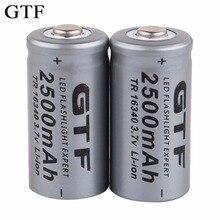 GTF 3,7 в 2500 мАч литий-ионная 16340 батарея CR123A перезаряжаемые батареи 3,7 в CR123 для лазерной ручки светодиодный фонарик