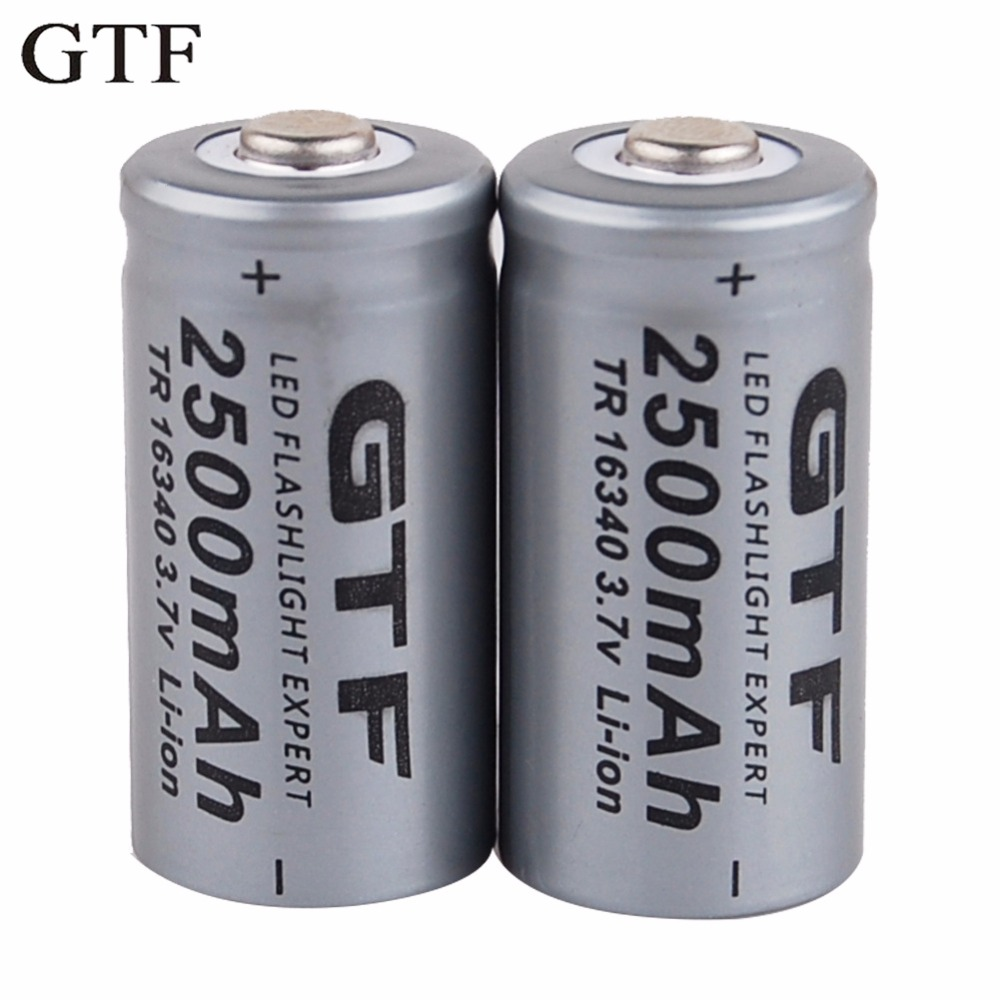 GTF 3.7V 2500mAh Lithium Li-ion 16340 Battery CR123A Rechargeable Batteries 3.7V CR123 for Laser Pen LED Flashlight Cell 2 3 4 5pcs icr 3 7v 16500 17500 rechargeable lithium ion battery li ion cell 1200mah for led flashlight torch and speaker