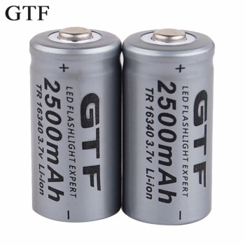 GTF 3.7V 2500mAh Lithium Li-ion 16340 Battery CR123A Rechargeable Batteries 3.7V CR123 for Laser Pen LED Flashlight Cell 12pcs pkcell lithium battery cr123a cr 123a cr17345 16340 cr123a 3v non rechargeable batteries for camera gas meter primary dry