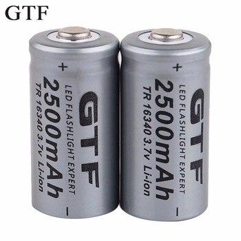 GTF 3.7V 2500mAh Lithium Li-ion 16340 Battery CR123A Rechargeable Batteries 3.7V CR123 for Laser Pen LED Flashlight Cell battool 3 7v 2800mah lithium li ion for 16340 battery cr123a rechargeable batteries 3 7v cr123 for laser pen special battery