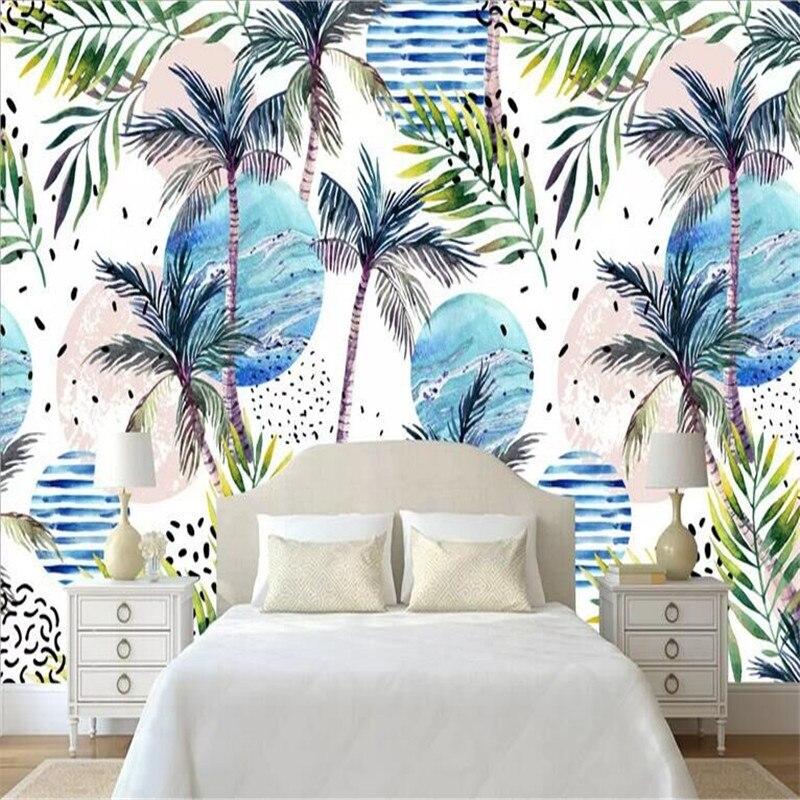 Minimalista e moderno mural árvore de floresta tropical planta de coco fabricantes por atacado papel de parede do fundo da parede mural personalizado ph