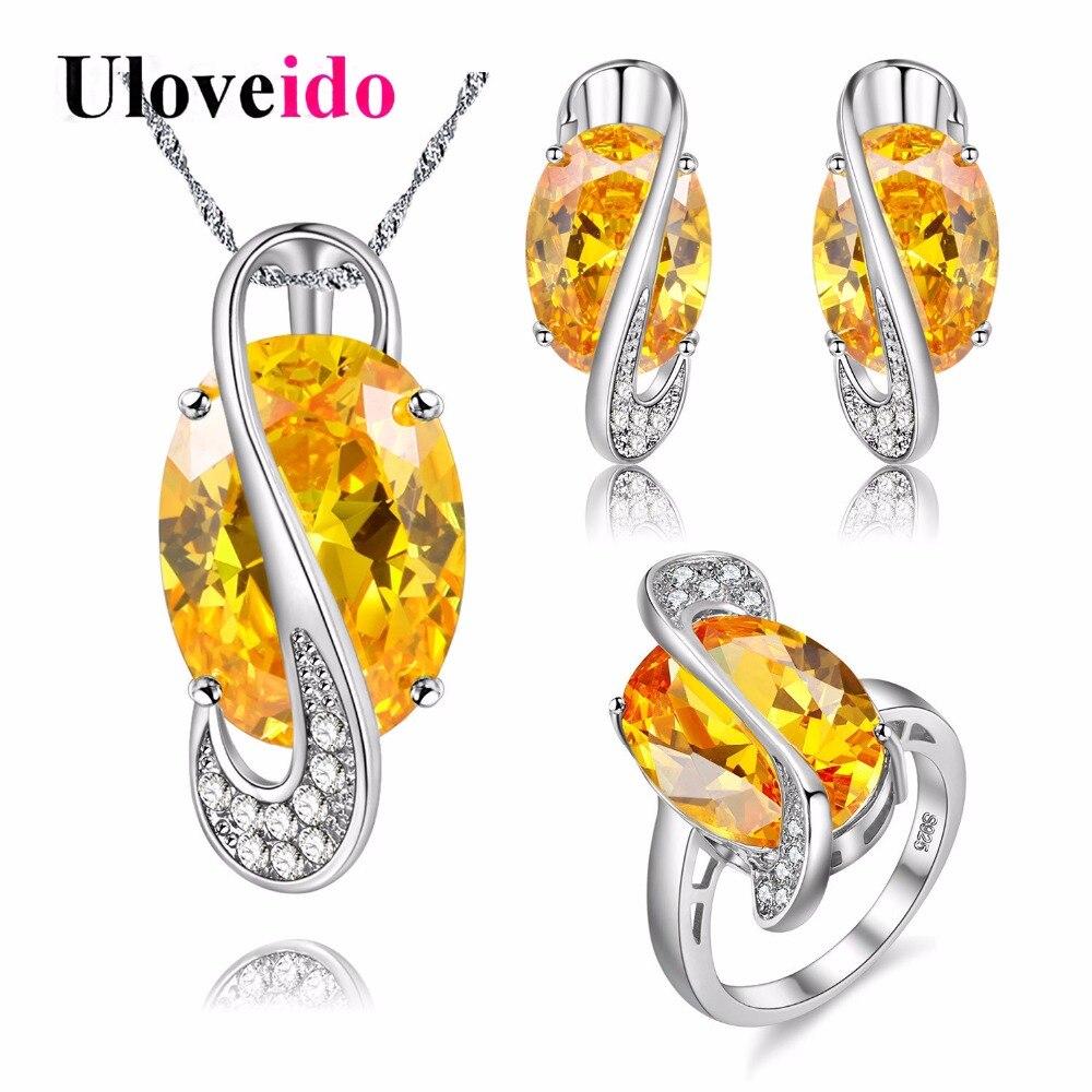 Uloveido серебро Цвет Свадебные украшения комплект со стразами Ювелирные наборы желтый камень кольцо, кулон Серьги anillos оптовая продажа Y182