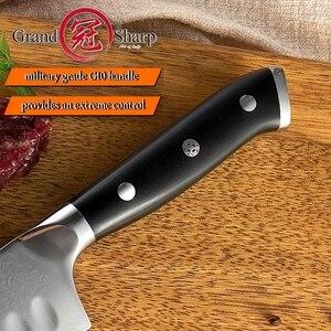 Image 4 - 5 インチ三徳ナイフ VG10 日本ダマスカスステンレス鋼 67 層日本人ダマスカス包丁プロのシェフのツール