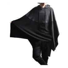 Mit kapuze Beiläufige Partei Hoodie Männer Nähte Splice Kapuze Pullover Unregelmäßigen Rand Sweatshirt Poncho Mantel Umhang mantel männlichen mujer