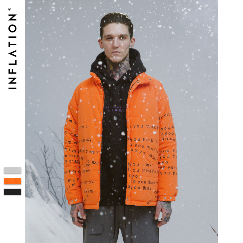Инфляции Для Мужчин's Теплая зимняя кофта Повседневное верхняя одежда письмо печати толстый слой Для мужчин Оранжевая Куртка для мальчиков ...