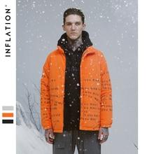 Инфляции Для Мужчин's Теплая зимняя кофта Повседневное верхняя одежда письмо печати толстый слой Для мужчин Оранжевая Куртка для мальчиков Модное повседневное пальто 8730 Вт