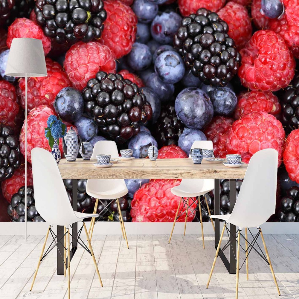 Else Red Blackberry Navy Blue Plum Fresh Fruits 3d Print Photo Cleanable Fabric Mural Home Decor Kitchen Background Wallpaper