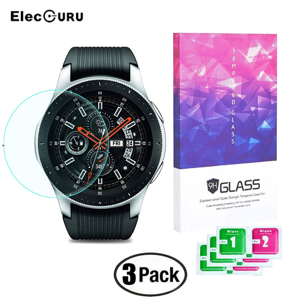 Tempered Glass Screen Protector For Samsung Galaxy Watch 46mm 9H Hardness HD Explosion-proof Anti Scratch Protective Glass Film nuglas 9h super hardness ultra slim 0 3mm design tempered glass screen film for samsung galaxy note4 n9100