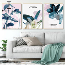 Landscape Torpical  Green Leaves Modern Nordic Sweet Pink Poster Canvas Wall Art Painting Posters And Prints Room Decor