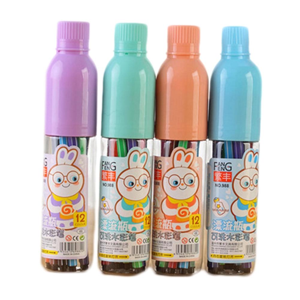 12 шт./упак. бутылки ребенка нетоксичные граффити Цвет карандаш Детские акварель школы маркер канцелярские случайный цвет