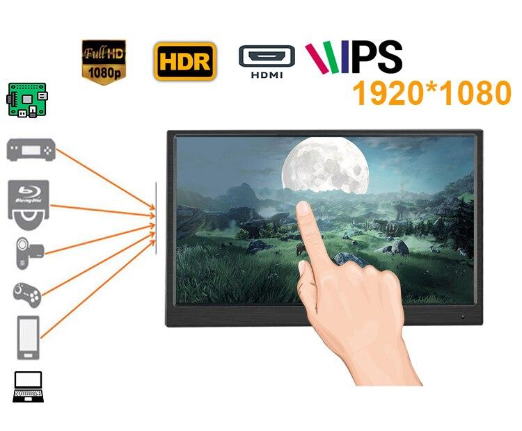13.3 polegada monitor LCD touch screen display com retroiluminação led (8mm de espessura, 1920*1080 IPS, HDMI in, tipo c ideal para Xbox, PS etc)