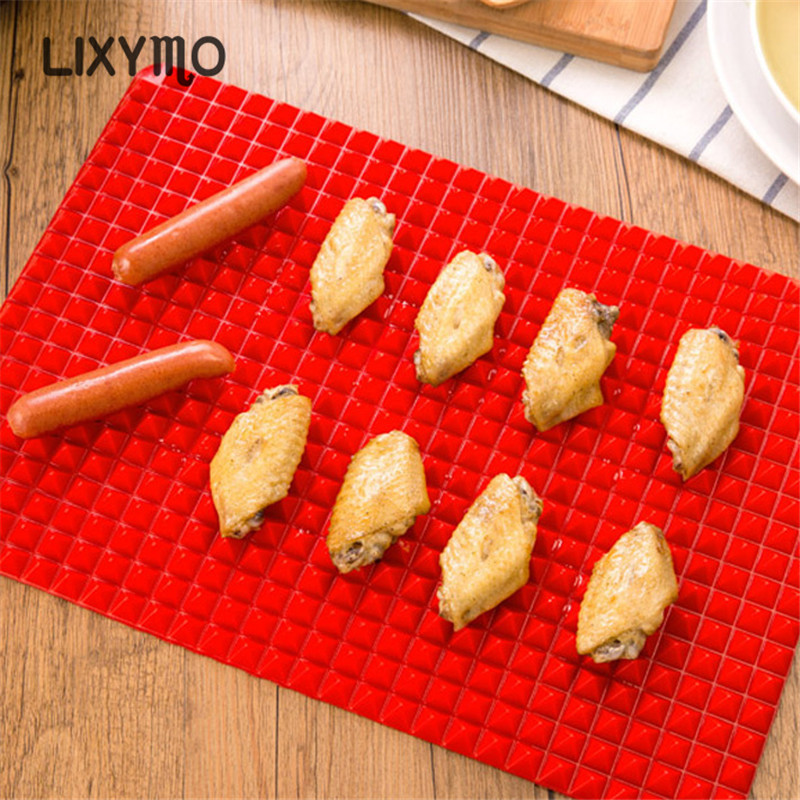 1PC BBQ Silicone Mat Barbecue Pyramid Pan Fat Reducing Slip Oven Baking Grill Oil Filter Pad Sheet Cooking Non-stick Mat LIXYMO